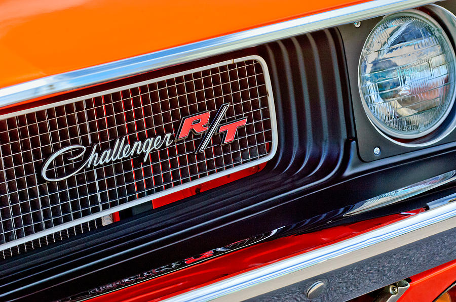 Muscle Car Photograph - Dodge Challenger Rt Grille Emblem by Jill Reger