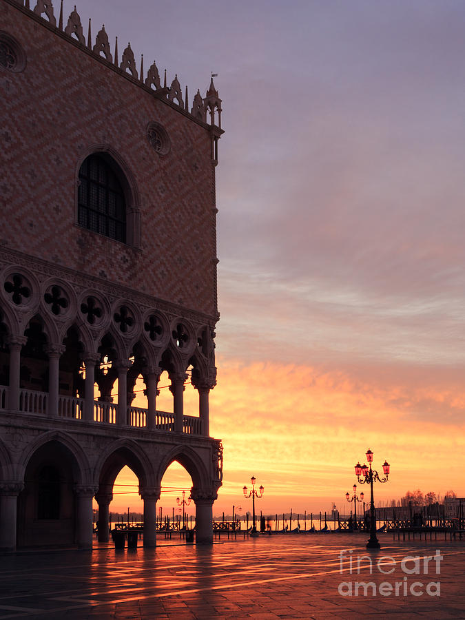 Campanile Photograph - Doges Palace At Sunrise Venice Italy by Matteo Colombo