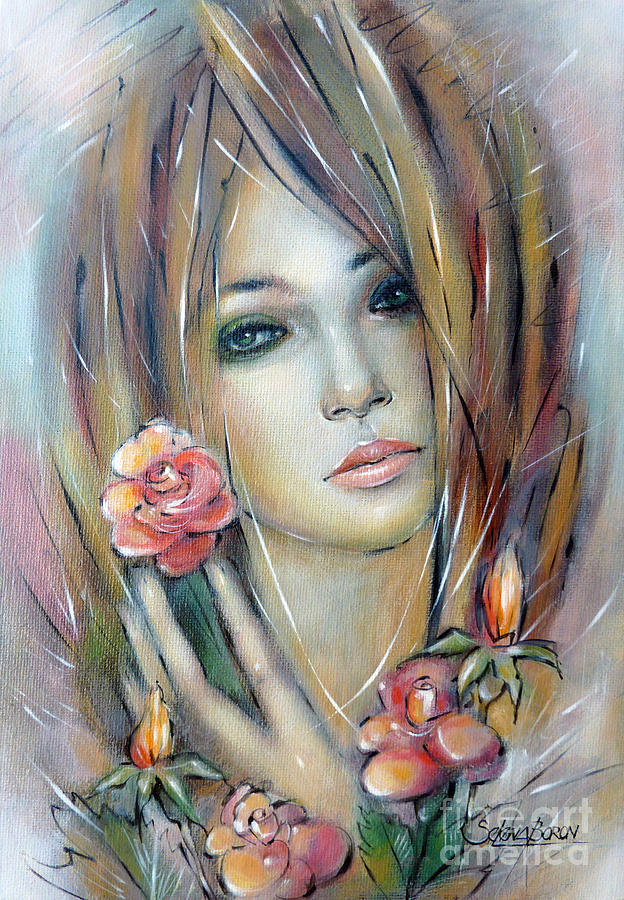 Girl Painting - Doll With Roses 010111 by Selena Boron