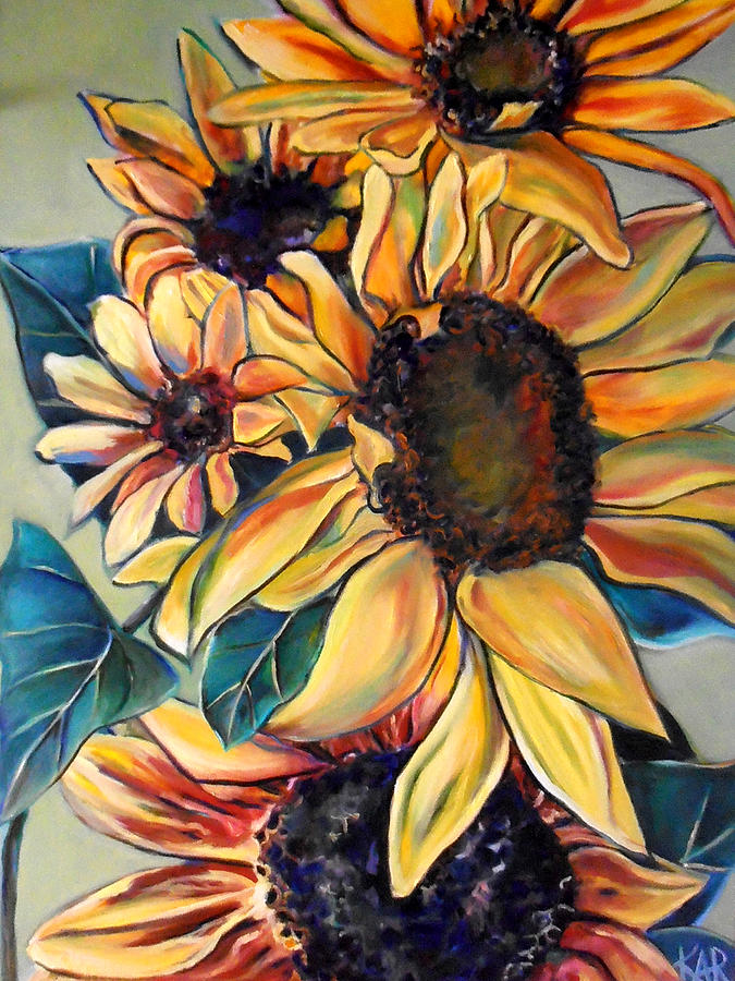 Sunflowers Painting - Dooleys Sunflowers 1 by Art by Kar