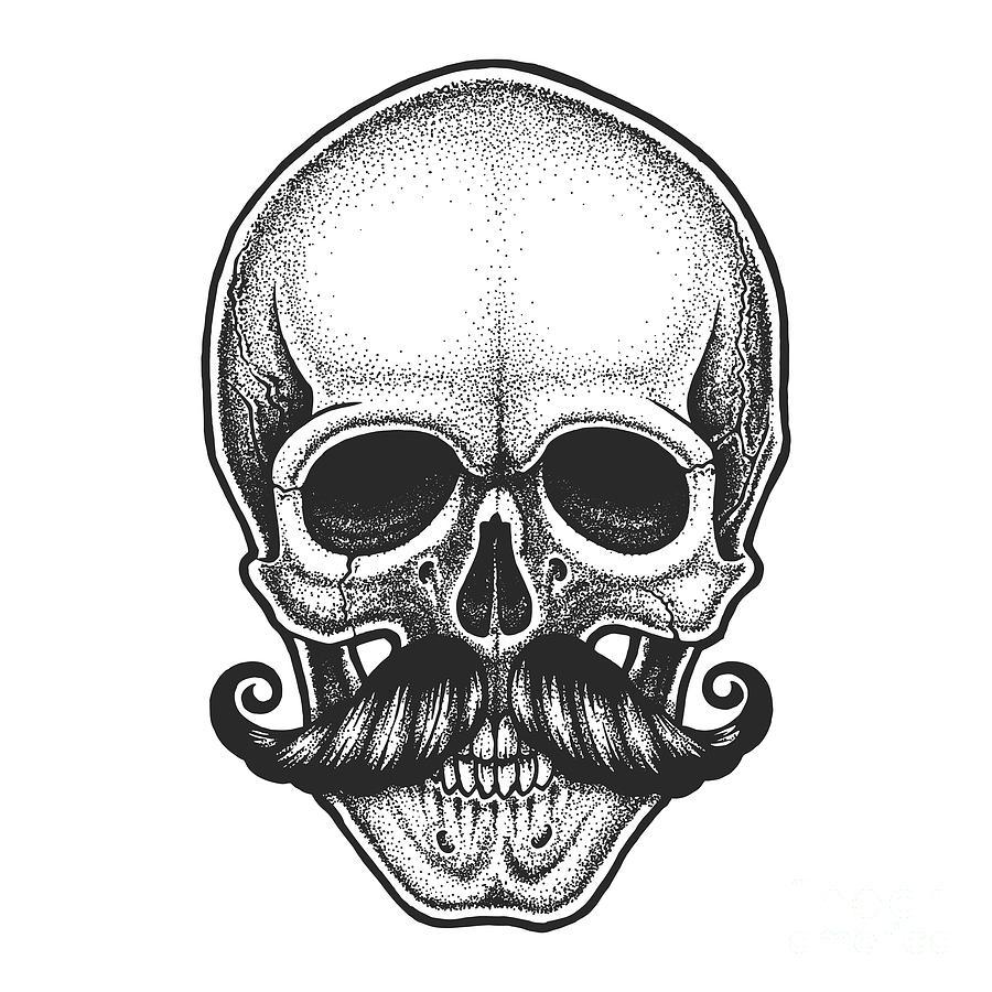 Symbol Digital Art - Dotwork Styled Skull With Moustache by Mr bachinsky