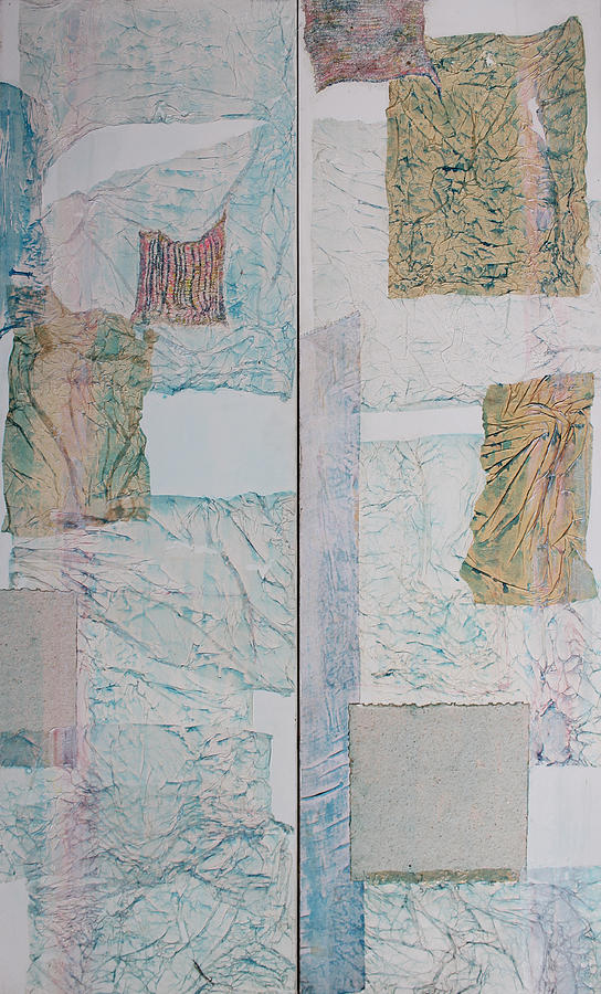 Mixed Media Collage Sculpture - Double Doors Of Unfinished Projects In Blue  by Asha Carolyn Young