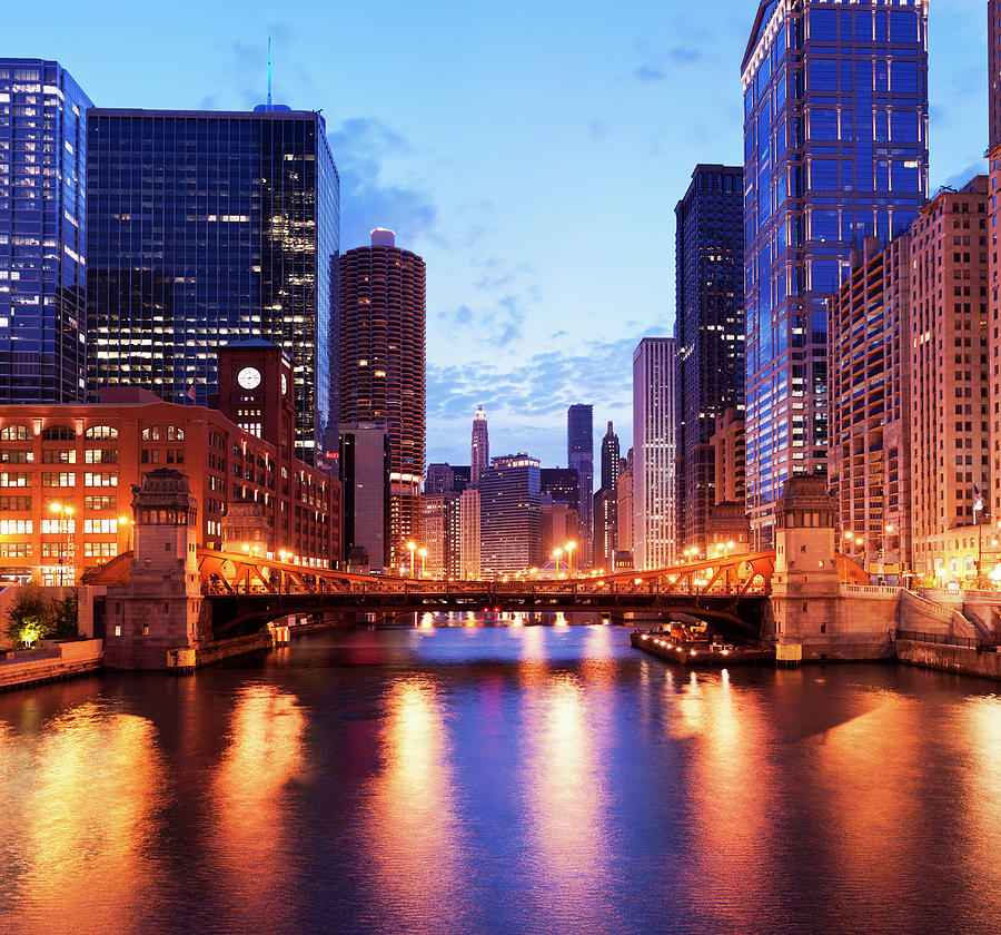 Downtown Chicago City Skyline In Photograph by Deejpilot