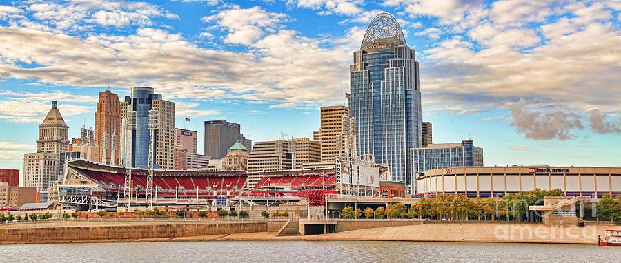 Cincinnati Reds Photograph - Downtown Cincinnati Pano1 by Jack Schultz