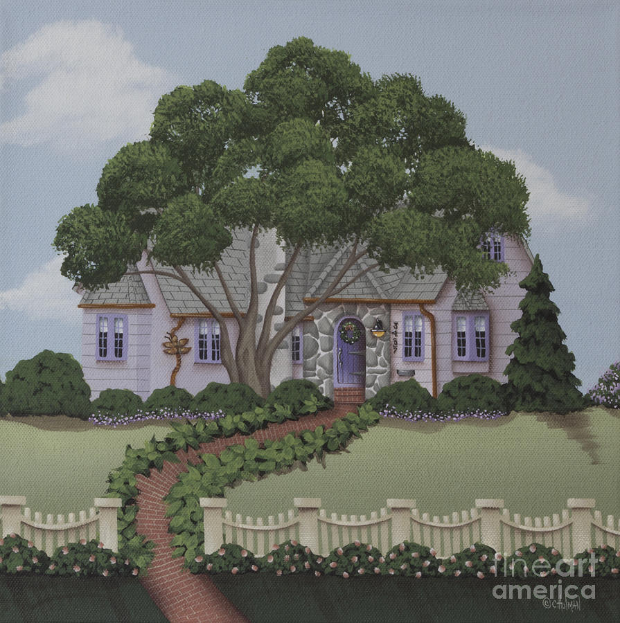 Print Painting - Dragonfly Cottage by Catherine Holman