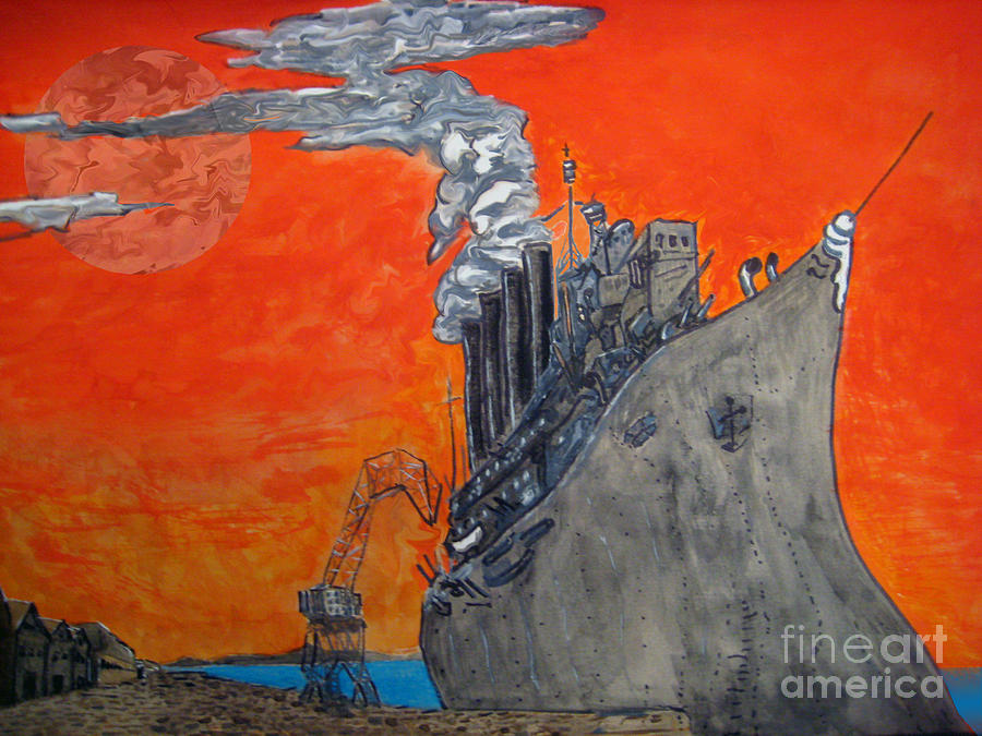 Orange Painting - Dreadnought by Raul Morales