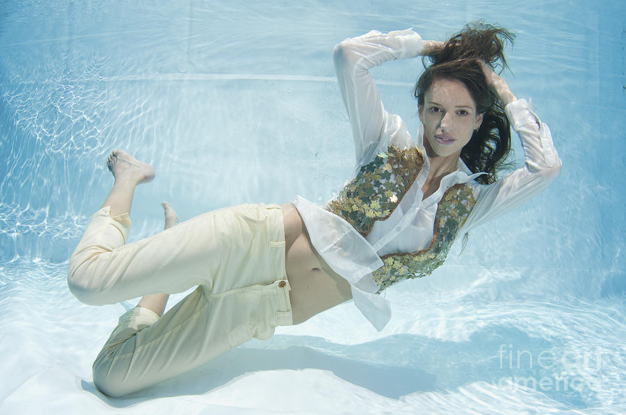 Dressed Woman Underwater Photograph by Hagai Nativ