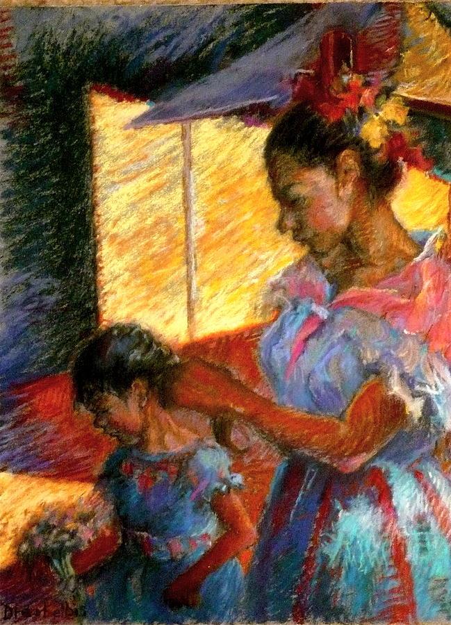 Hispanic Painting - Dressing For The Festival by Ellen Dreibelbis