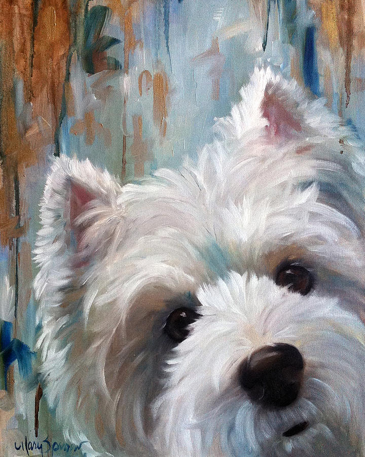 Westie Painting - Drip by Mary Sparrow