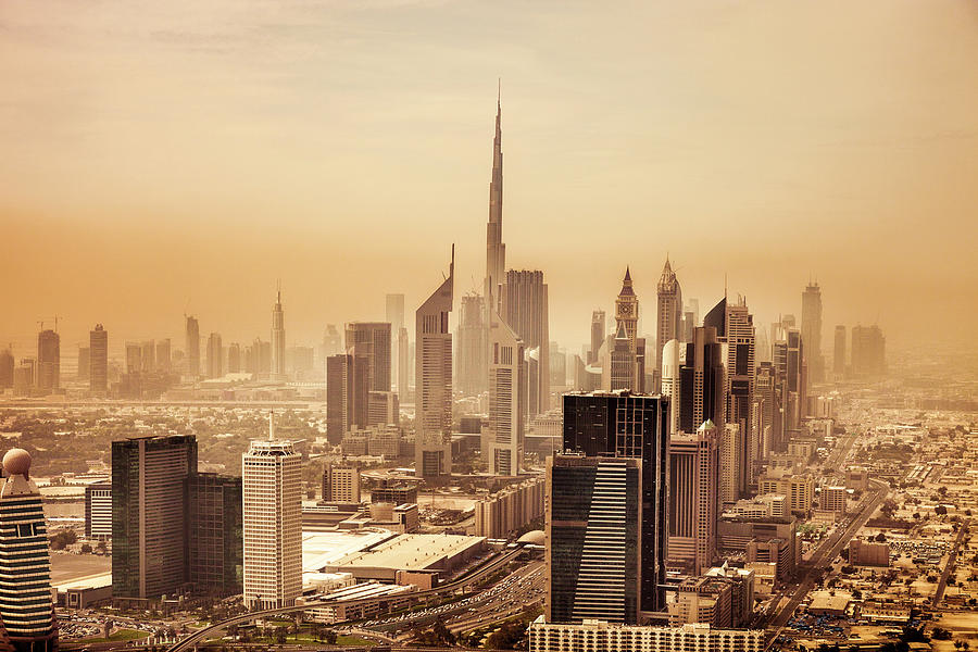 Dubai Downtown Skyscrapers And Office Photograph by Leopatrizi