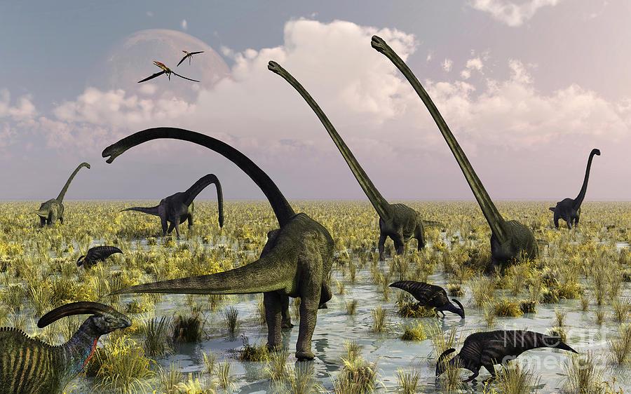 Horizontal Digital Art - Duckbill Dinosaurs And Large Sauropods by Mark Stevenson
