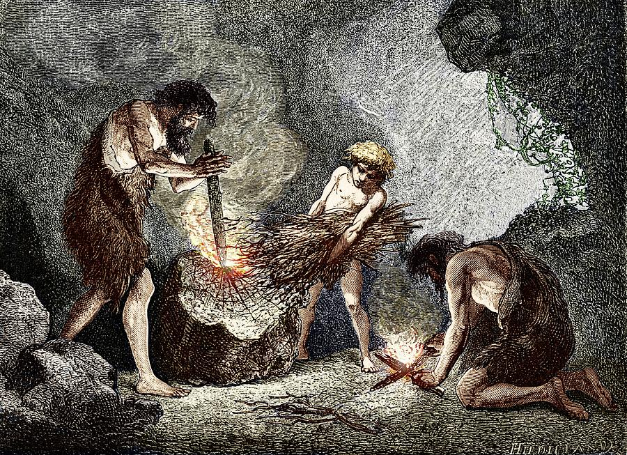 Human Photograph - Early Humans Making Fire by Sheila Terry