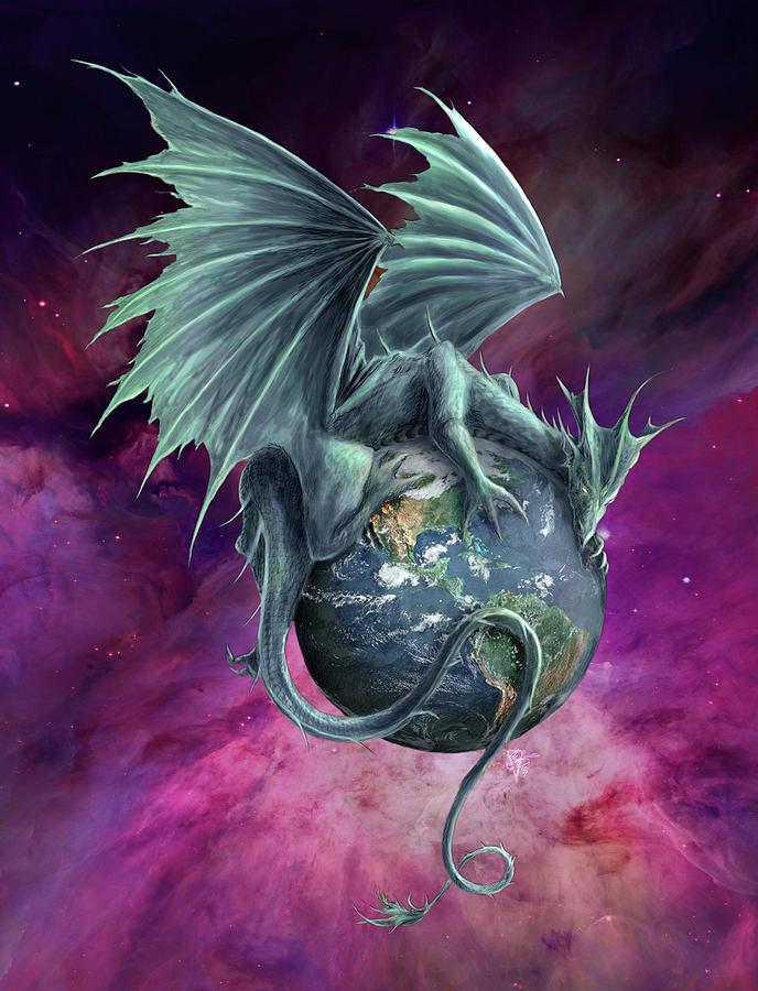 Earth Dragon: Earth Dragon Digital Art By Rob Carlos