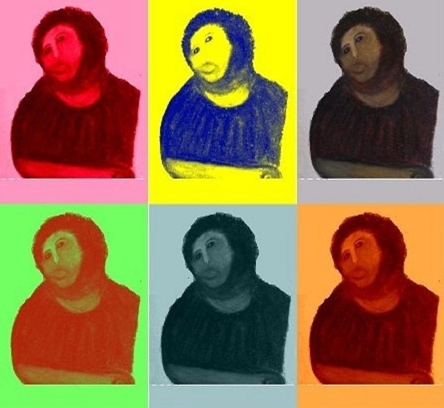 Restauration Mixed Media - Ecce Homo - Warhol Style by Sam Mart