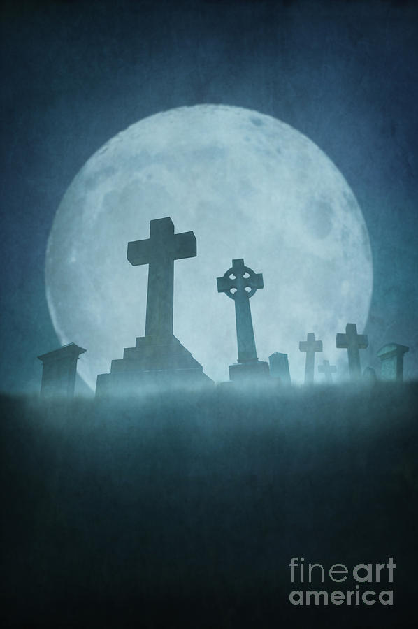 Eerie Graveyard At Night In Fog With Full Moon Photograph
