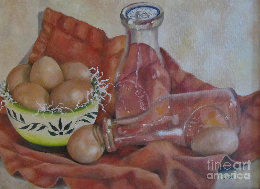 Still Life Painting - Eggs With Milk Bottles by Karen Olson