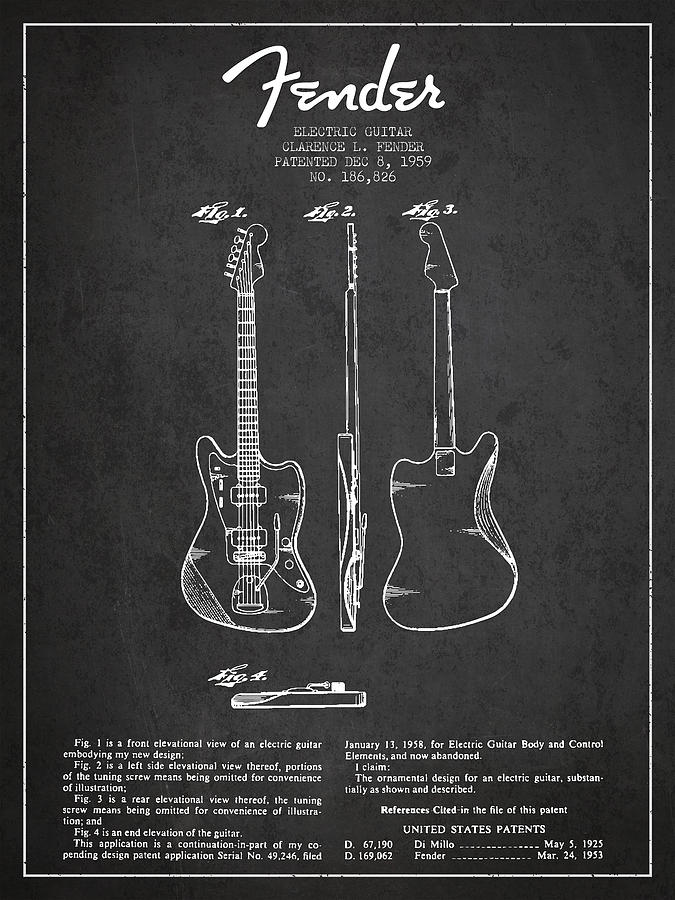 Electric Guitar Patent Drawing from 1959 Digital Art by ...