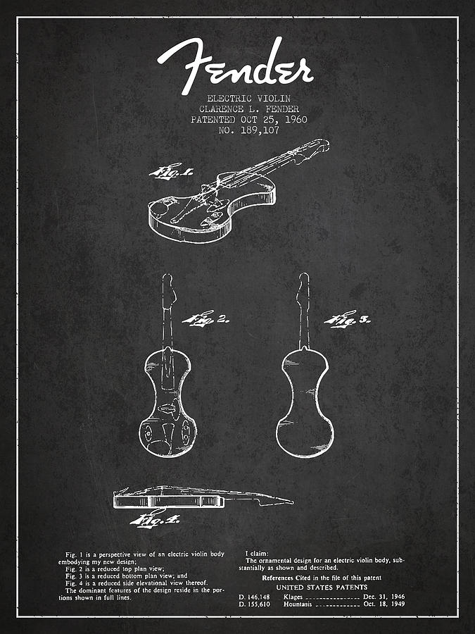 Electric Violin Patent Drawing From 1960 Digital Art
