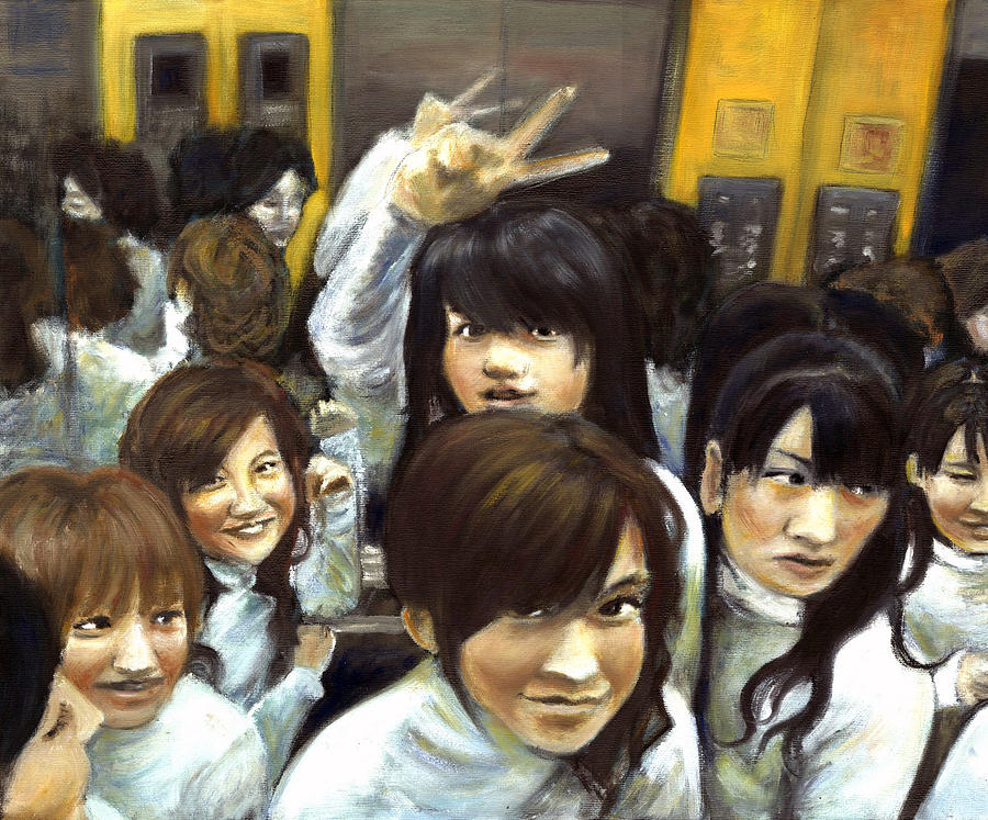 Oil Painting - Elevator People People People by Vanessa Baladad