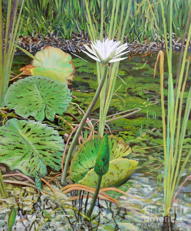Lily Painting - Emerald Lily Pond by Caroline Street