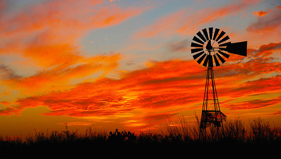 Ennis Sunset Windmill Mixed Media By Jr Phillips