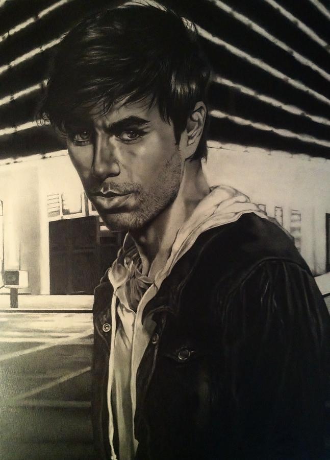 Enrique Drawing - Enrique Iglesias by Carl Baker