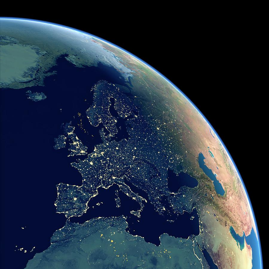 Earth Photograph - Europe At Night by Planetary Visions Ltd/science Photo Library