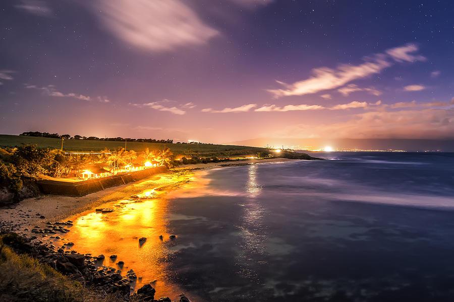 Night Photograph - Evening At Hookipa by Hawaii  Fine Art Photography