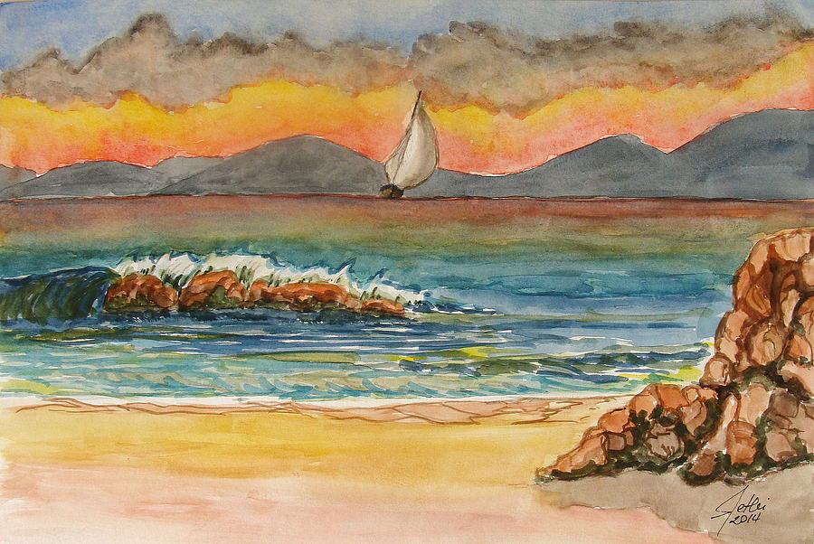 Painting Painting - Evening In Beach by Fethi Canbaz