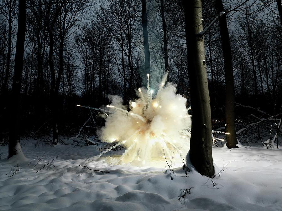 Explosion In Snowy Forest Photograph by Henrik Sorensen