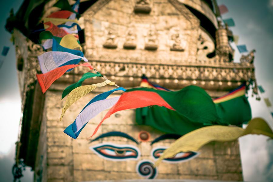 Wisdom Photograph - Eye Boudhanath Stupa In Nepal by Raimond Klavins