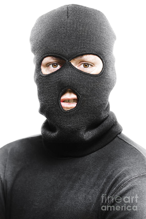 Background Photograph - Face Of A Burglar Wearing A Ski Mask Or Balaclava  by Jorgo Photography c9966c6afba5
