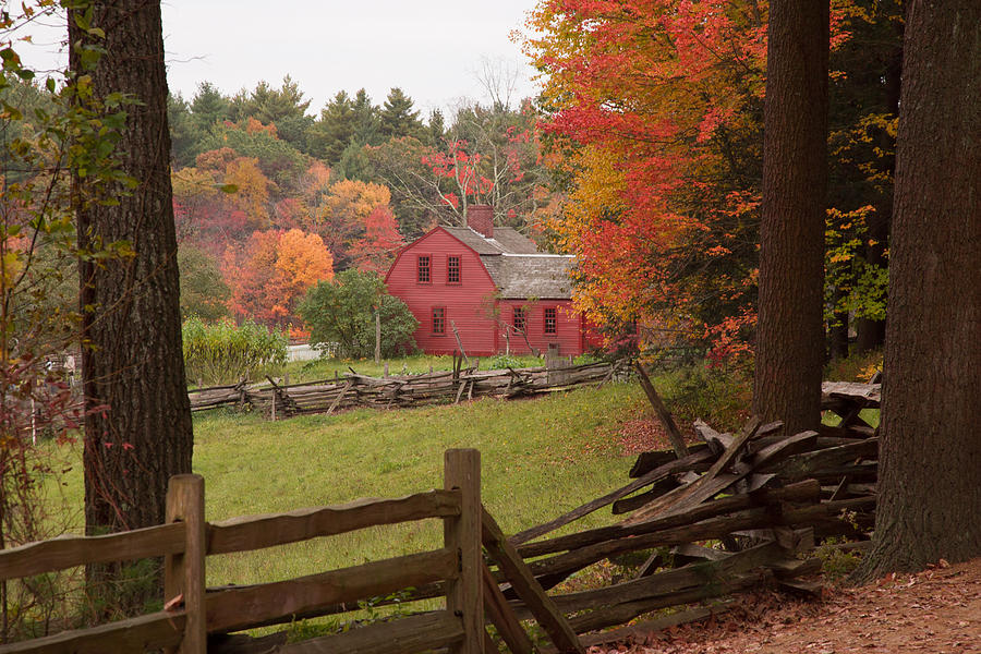 Autumn Foliage Photograph - Fall Foliage Over A Red Wooden Home At Sturbridge Village by Jeff Folger