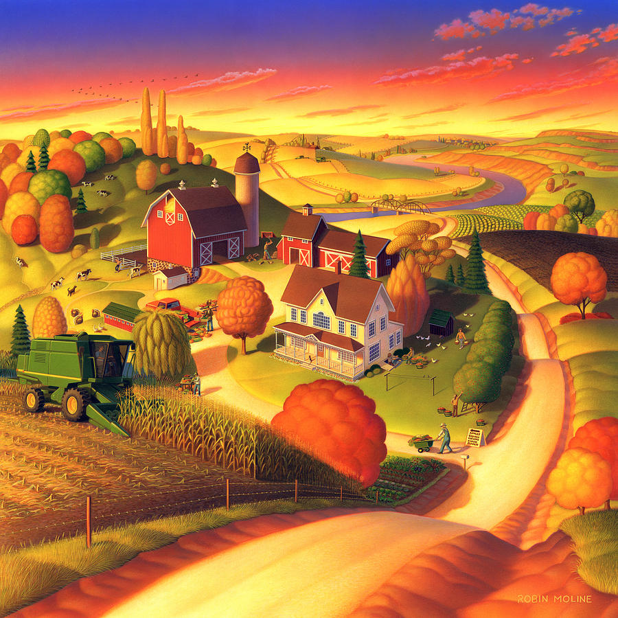 Landscape Paintings Painting - Fall On The Farm  by Robin Moline