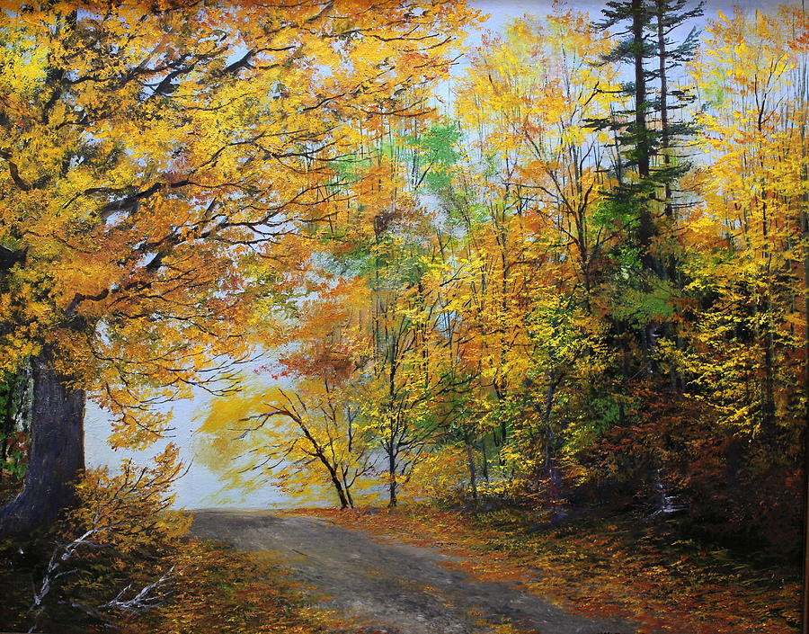 Autumn Painting - Fall Road by Ken Ahlering