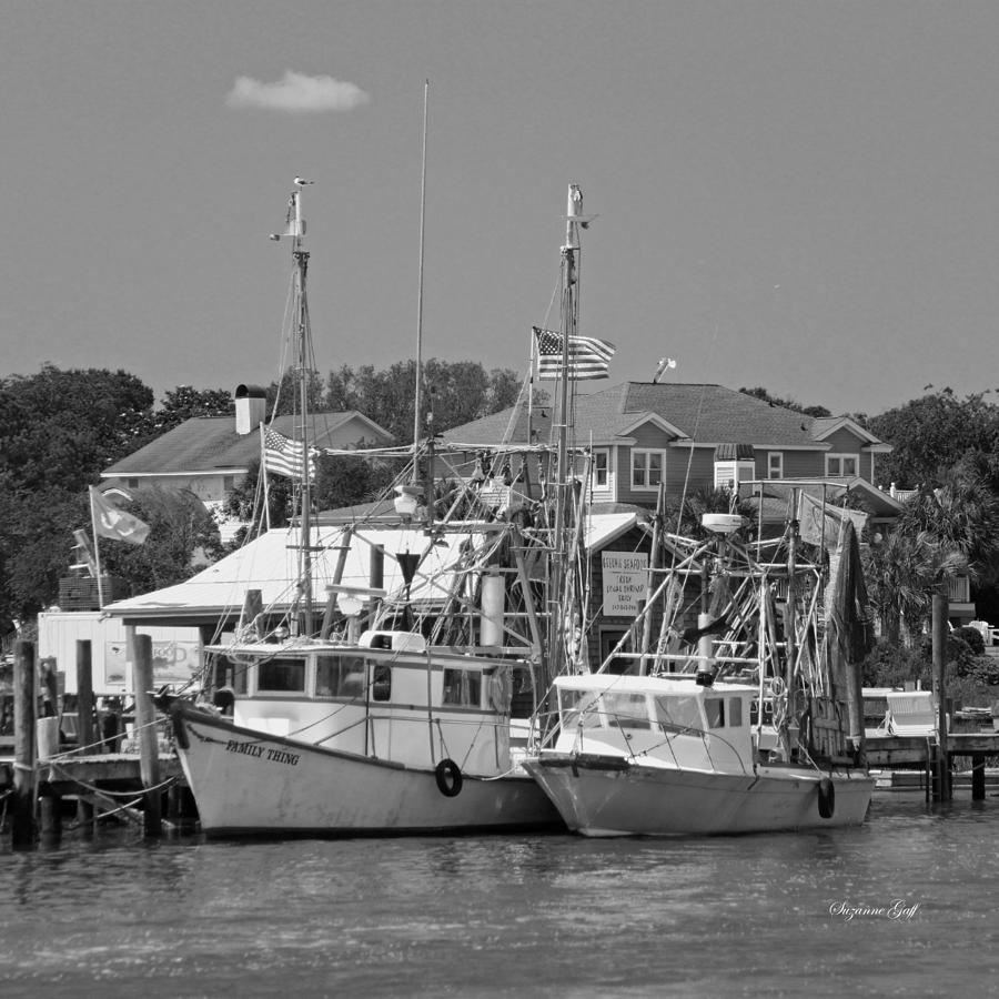 Shrimper Photograph - Family Thing - Black And White by Suzanne Gaff