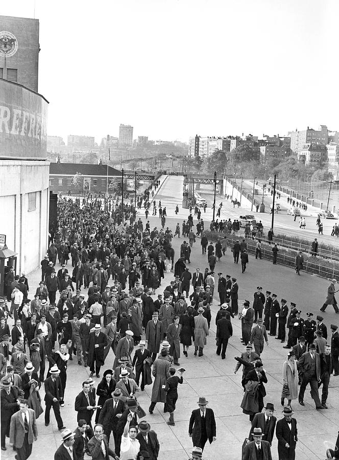 1938 Photograph - Fans Leaving Yankee Stadium. by Underwood Archives
