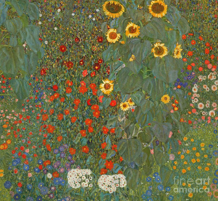 Klimt Painting - Farm Garden with Sunflowers by Gustav Klimt