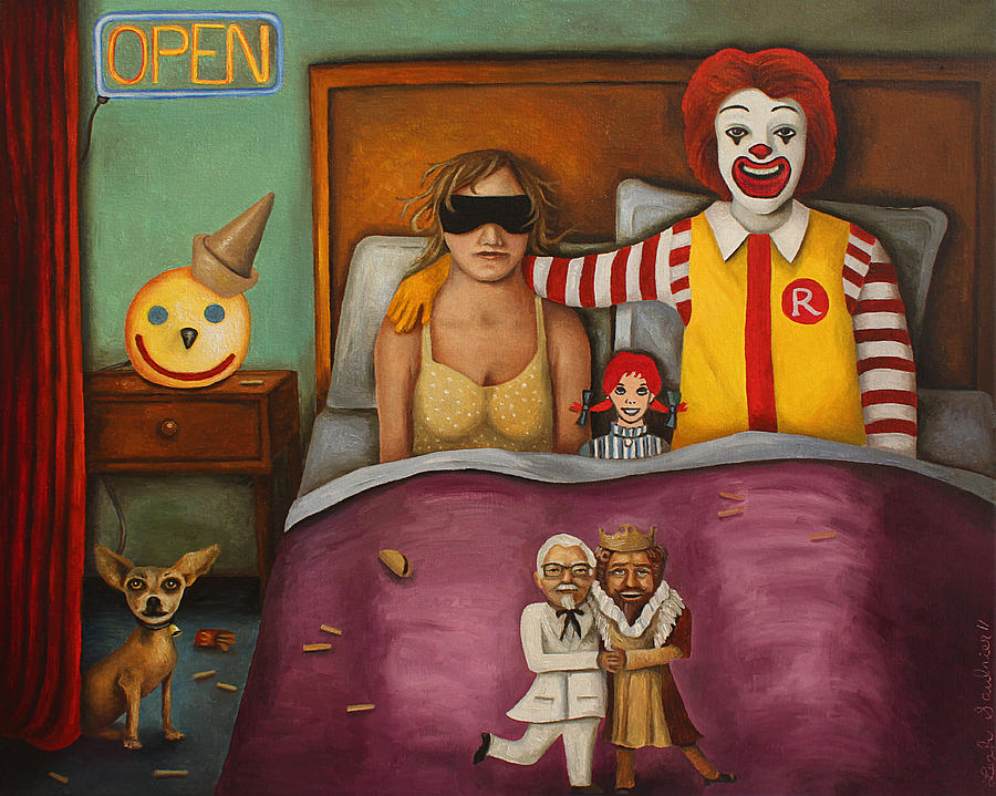 Mcdonald's Painting - Fast Food Nightmare by Leah Saulnier The Painting Maniac