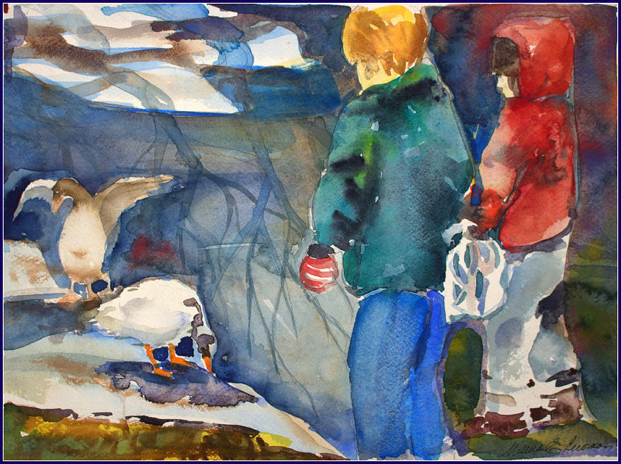 Children Painting - Feeding The Ducks by Mindy Newman