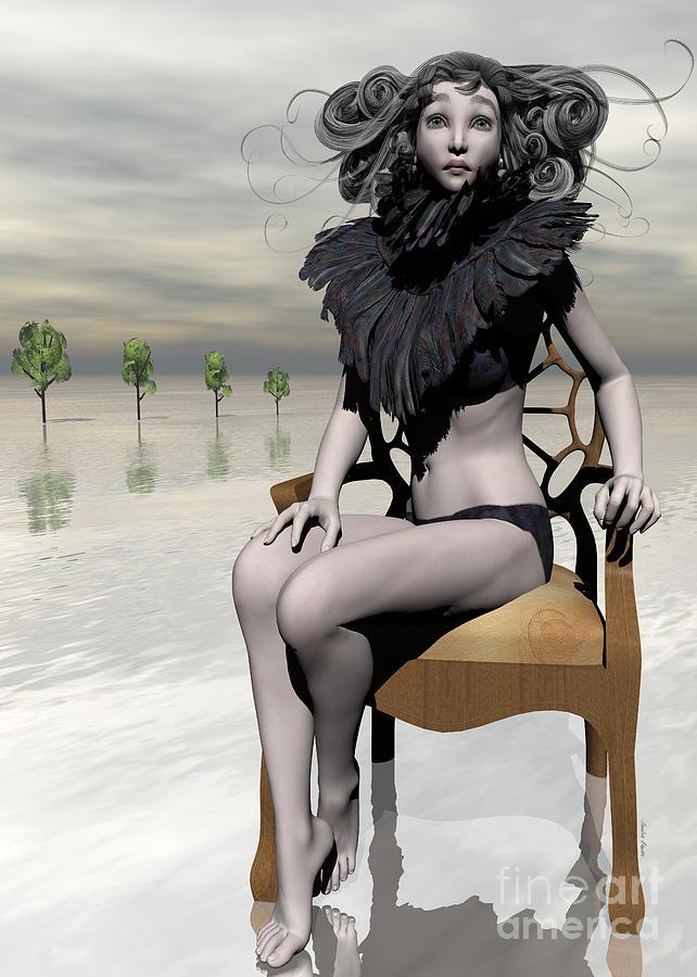 Daz Digital Art - Femme Avec Chaise by Sandra Bauser Digital Art