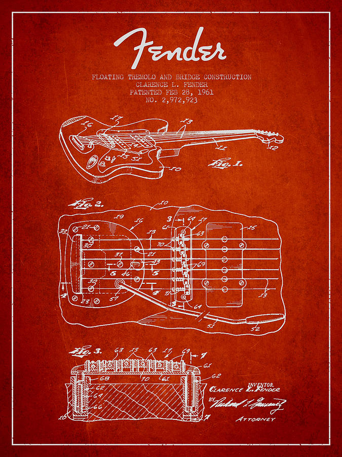 Fender Digital Art - Fender Floating Tremolo Patent Drawing From 1961 - Red by Aged Pixel