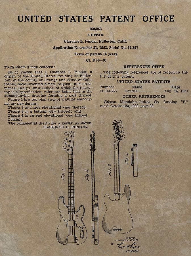Fender Guitar Patent Drawing