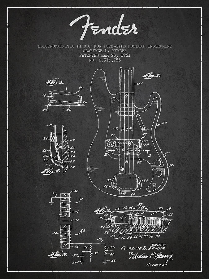 Fender Digital Art - Fender Guitar Patent Drawing From 1961 by Aged Pixel