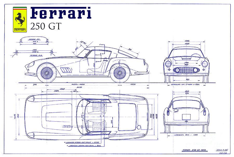 Ferrari 250 Gt Blueprint Drawing By Jon Neidert