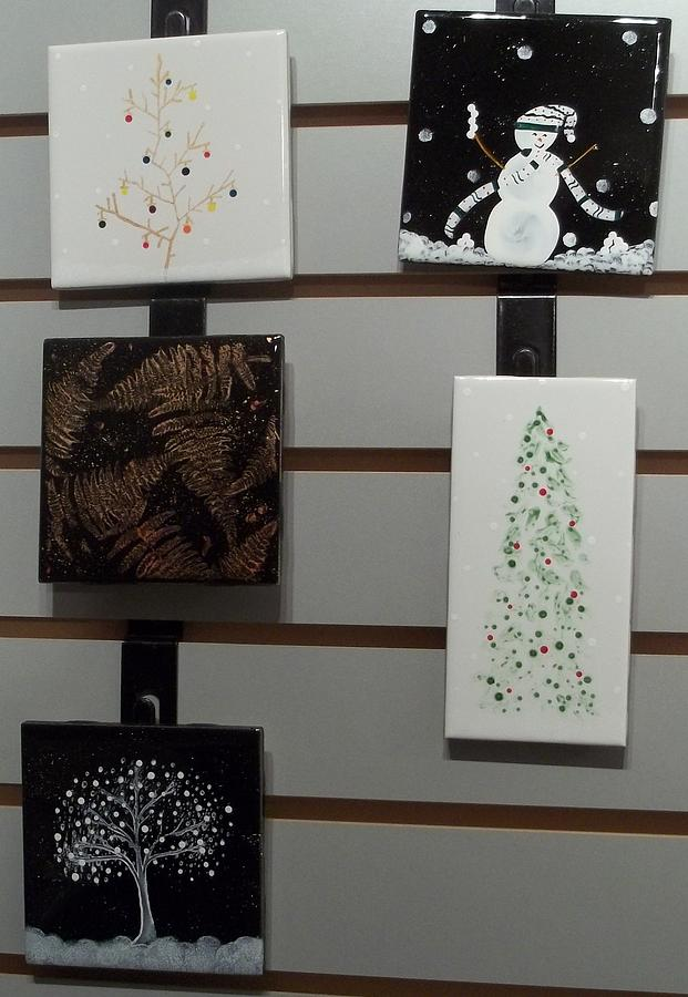 Snowman Ceramic Art - Festive Decorative Tiles by Joyce Kerr