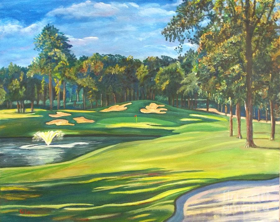 Golf Painting - Final Hole At Walden On Lake Conroe by Frank Giordano