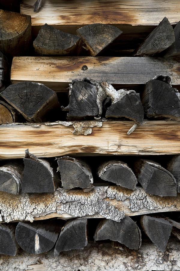 Firewood Photograph - Firewood Stack by Frank Tschakert