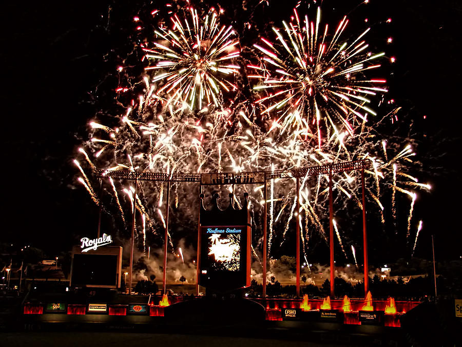 Fireworks Photograph - Fireworks At Kauffman Stadium by Alan Hutchins