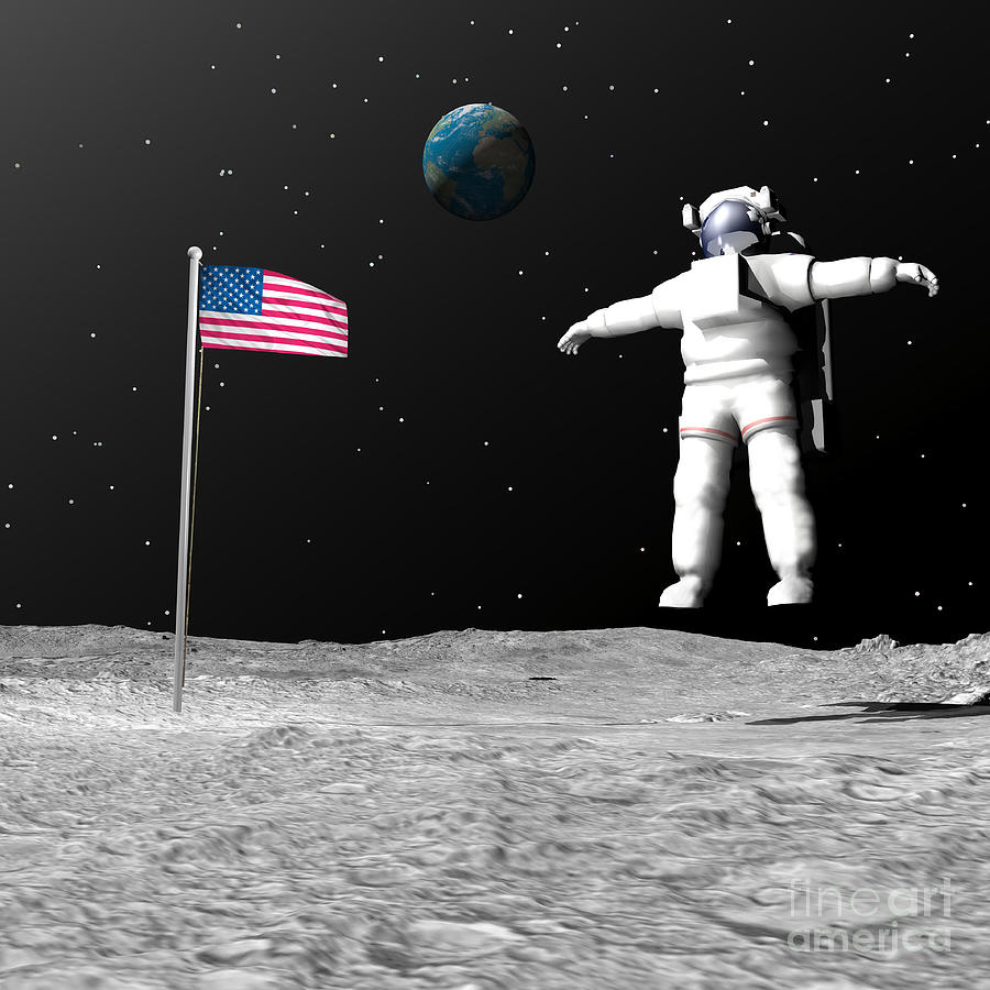 First Astronaut On The Moon Floating Digital Art By Elena